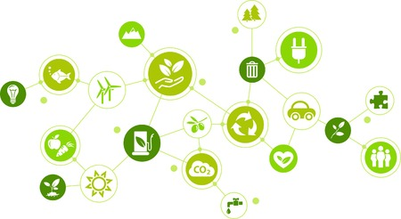 Environmental consciousness or environmental challenges vector illustration