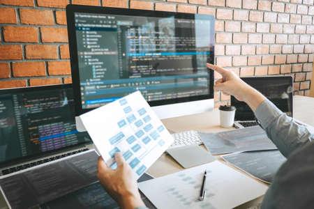 Professioneller Entwicklerprogrammierer, der an einer Software-Website-Design- und Codierungstechnologie arbeitet, Codes und Datenbanken im Firmenbüro schreibt, globale Cyber-Verbindungstechnologie.