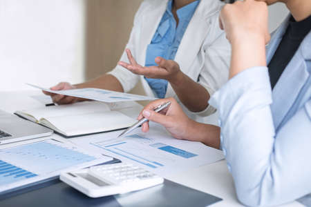 Professional Business woman partner discussing ideas plan and presentation new project at meeting collaboration, working and analyzing in workspace office, financial and investment concept. Stock Photo - 131733633