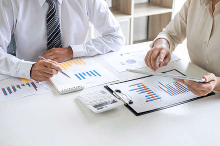 Group of Business leader team conference on meeting presentation to planning investment project working and strategy of business making conversation with partner, financial and accounting concept. Stock Photo - 131733597