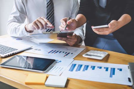 Professional executive Business colleague team working and analyzing with new project of accounting finance, Idea presentation and meeting strategy plan of financial business investment. Stock Photo