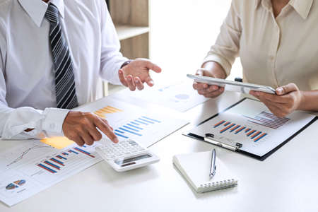 Group of Business leader team conference on meeting presentation to planning investment project working and strategy of business making conversation with partner, financial and accounting concept. Stock Photo - 131727015