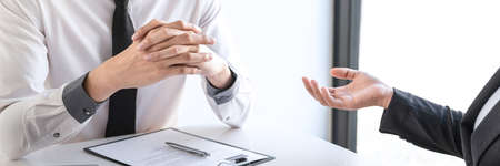 Employer arriving for a job interview, businesswoman listen to candidate answers explaining about her profile and colloquy dream job, manager sitting in job Interview talking in office.