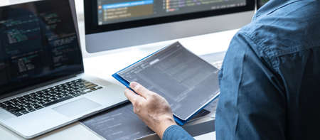Professional Development programmer working in programming website a software and coding technology, writing codes and data code, Programming with HTML, PHP and javascript.
