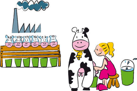 milk production: girl milking a cow with the traditional method, in the second floor there is an intensive farming with cows exploited for industrial production Illustration
