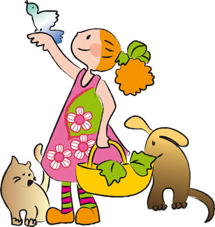 loves: Girl who loves animals and nature, surrounded by a cat, a dog and a bird while collecting leaves