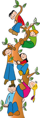 six children climb up a tree Illustration