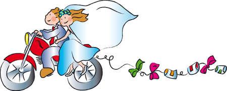 motorrad frau: Paar auf Hochzeitsreise gehen mit seinem Motorrad f�r die Hochzeit geschm�ckt Illustration