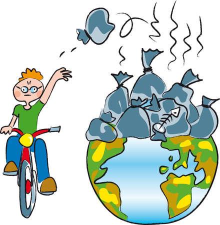 un garçon sur un vélo jeter beaucoup de déchets d'un monde déjà plein de sacs à ordures