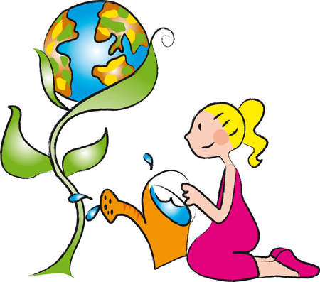 a girl watering a plant in the shape of the world