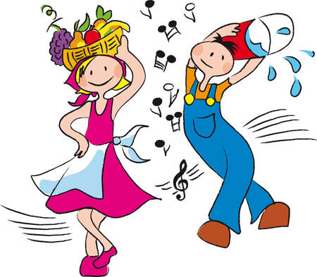 country music: people in agricultural work, dance and are happy Illustration