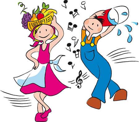country music: persone nel lavoro agricolo, la danza e sono felice