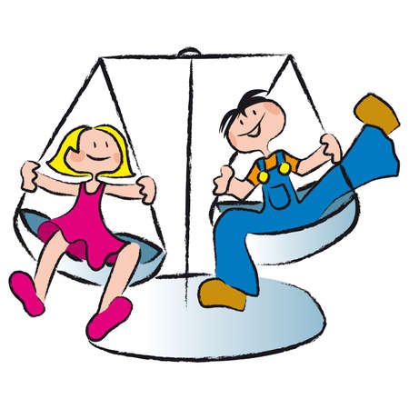 equidad: dos amigos se balancean en un equilibrio