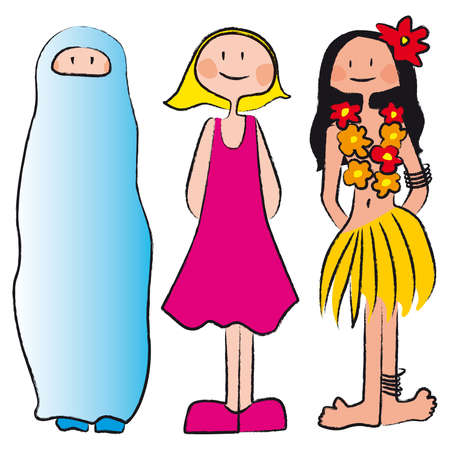three women of different ethnicity, culture, clothing