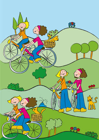 two friends walking cycling immersed in nature Illustration