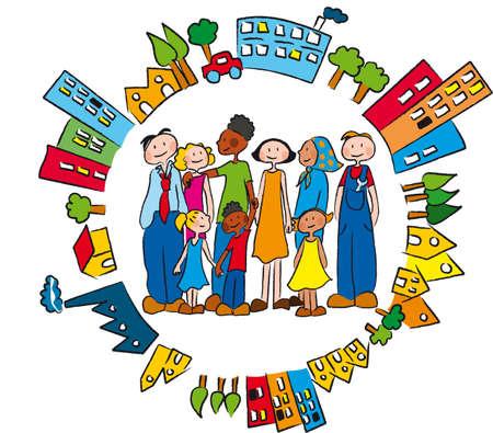rassismus: Menschen verschiedener ethnischer Herkunft in Freundschaft