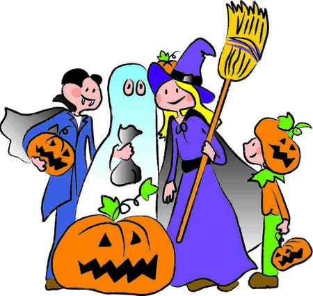 grupo de crian�as em trajes para a noite de halloween