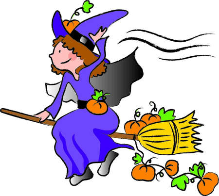 a little girl dressed as a witch flying on a broom carrying pumpkins for Halloween night