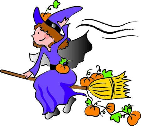 uma menina vestida como uma bruxa voando em uma vassoura carregando abóboras para a noite de Halloween Ilustração