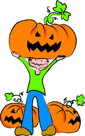 a child raises a large pumpkin, pumpkins surrounded by other for halloween night