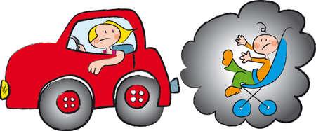 uma mulher dirigindo um envenenamento polui��o do carro um beb� em um carrinho de beb�