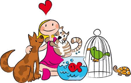 surrounded: bambino amante degli animali, circondata da cani, gatti, pesci, uccelli, tartarughe