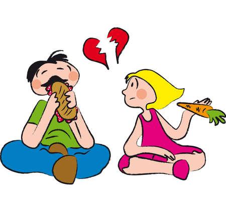 miúdo gordo come um sanduíche cheio de gordura, enquanto uma menina comendo uma cenoura parece desgostoso