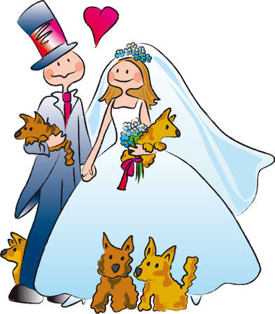 a couple marries accompanied by five dogs Illustration