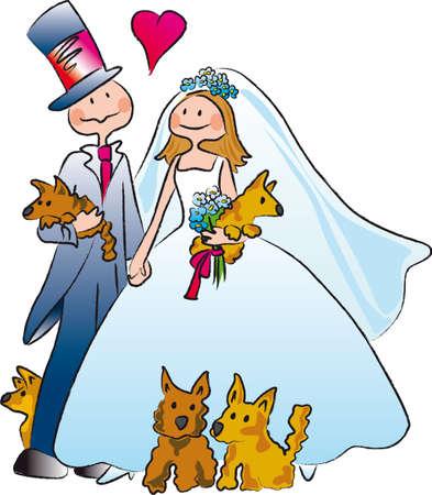 una pareja se casa acompañado por cinco perros