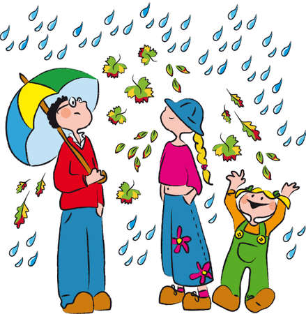 three boys in the rain and autumn leaves Vector