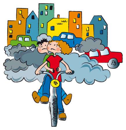 dois rapazes em bicicletas fugir da poluição da cidade Ilustração