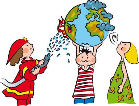 três meninos tentam salvar o mundo de mudança climática