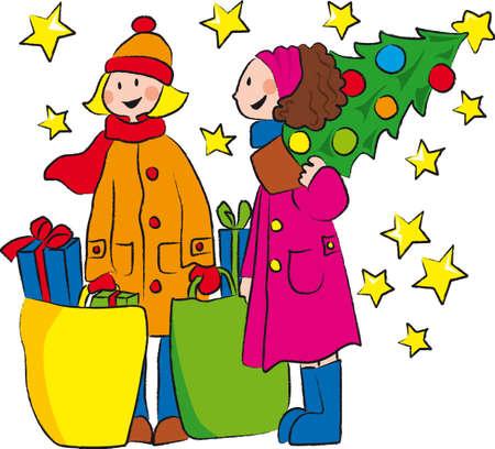 dois menina est� comprando para o Natal