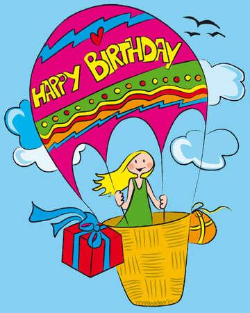 menina voando em um balão de ar decorada com happy birthday Ilustração