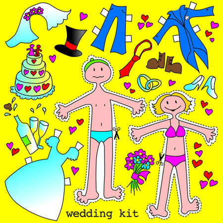wedding invitation with shapes to cut out, wedding dresses and accessories Illustration