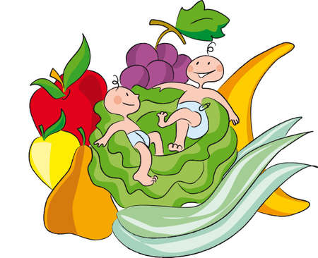 vegetarianism: children immersed in a composition of fruit and vegetables Illustration