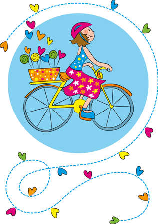 bike girl surrounded by hearts Vector