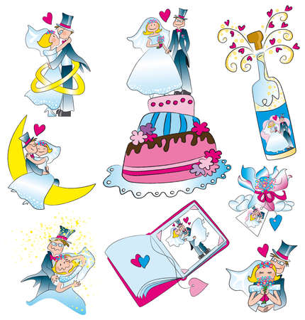 various scenes for marriage Illustration