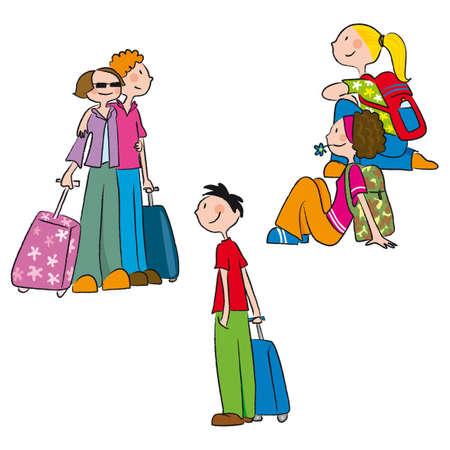 casais, singles e dois amigos que viajam Ilustração