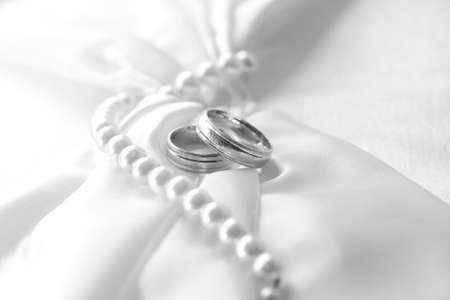 Wedding rings, black and white image photo