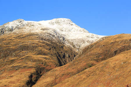Snow covered mountains Glencoe region of Scotland Stock Photo