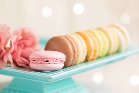 french fancy: colourful macaroons isolated against light background Stock Photo