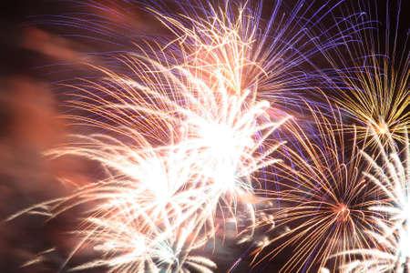 Fireworks exploding in a dark sky