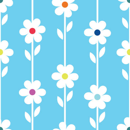 Simple white and blue daisy design repeat pattern