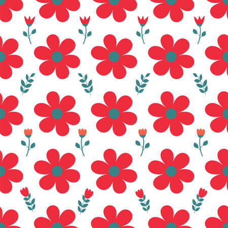 Red daisy white background seamless repeat pattern Çizim