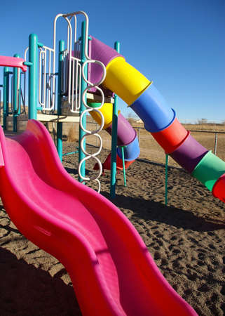 Brightly colored playground equipment.