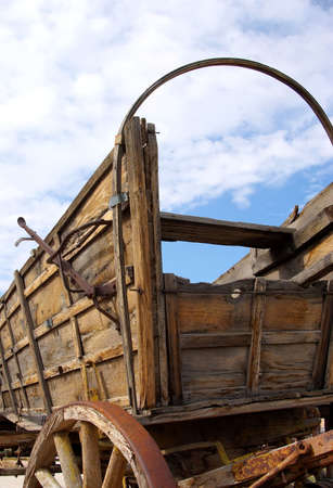 old wood farm wagon: Old covered wagon without cover. Stock Photo