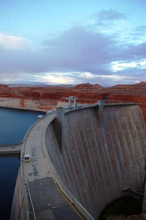 Concrete dam on Colorado River at Glen Canyon. Stock Photo