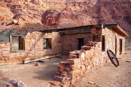 Ruined stone home in a remote canyon area. Stock Photo - 2489096