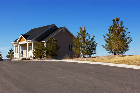 housing lot: New suburban home on a large lot. Stock Photo